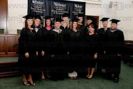 Members of Webster University's inaugural Global MBA class graduated today in ceremonies at the State Audit Office of Hungary, in Budapest. (PRNewsFoto/Webster University)